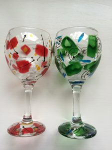 Confetti-Painted Wine Glasses by Cary Schott.