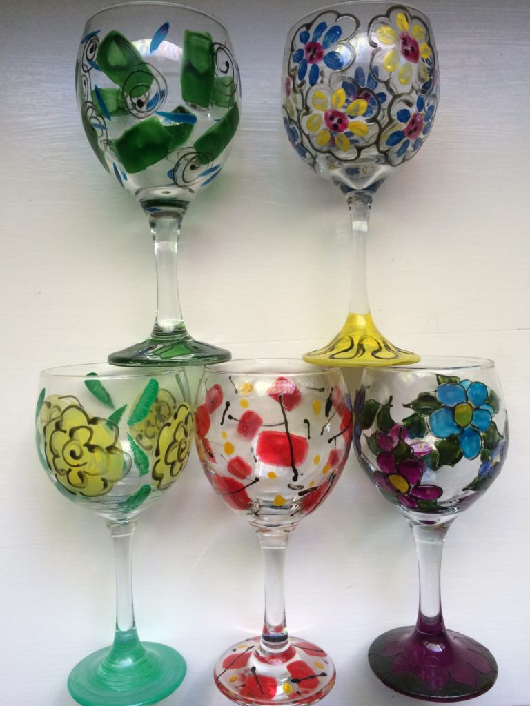 Wine glasses, hand-painted